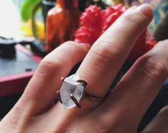Copper Herkimer Diamond statment ring