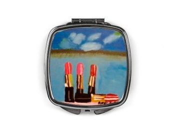 "Compact mirror ""lipsticks with a view"""
