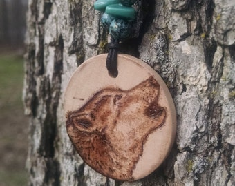 Handcrafted, Wood Burned-Wolf Necklace.