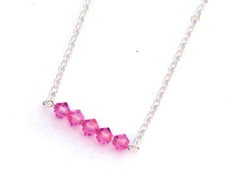 Crystal necklace, Swarovski crystal, Pink necklace, Pink jewelry, Crystal jewelry, gift for her, gift for women, Sweet 16, birthday gift