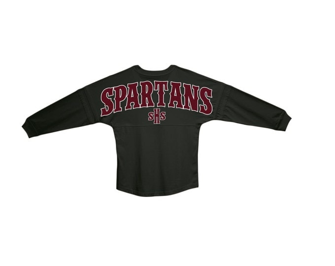 Seaside High School Spartans Black Jersey| Spartans Oversized Pom Pom Jersey