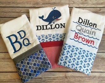 Personalized Burp Cloths - set of three, quick shipping!