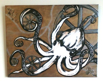 Steampunk octopus, original painting, steam punk canvas, steam punk painting, unusual art, metallic canvas, octopus canvas, cogs and gears