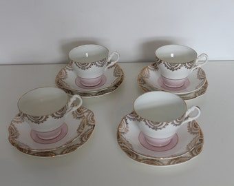 Lovely Bone China Set of Four Trios Pink And Gold