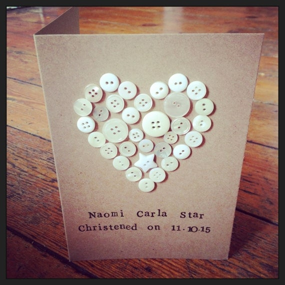 Button Heart Card perfect for christening, birthday, new baby, engagement, wedding and anniversary