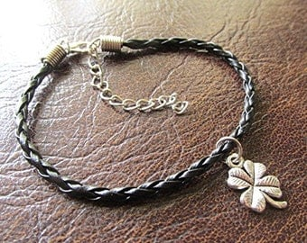 Braided leather charm bracelet four leaf clover lucky charm handmade boho hippie.