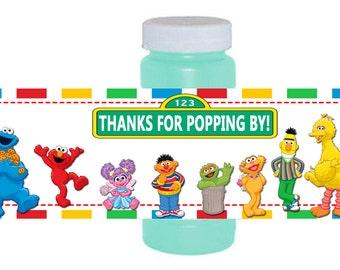Sesame Street Elmo Birthday Bubble Labels, INSTANT DOWNLOAD,  Elmo Sesame Street Party Favors, DIY Party Printables, Elmo Bubble Wrapper
