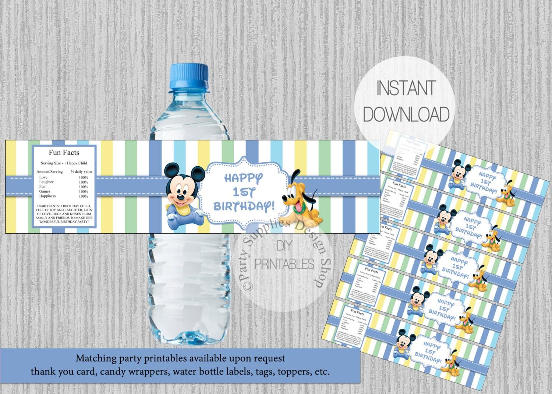 Etiquetas de botella de agua de cumplea os de mickey mouse 1 - Casa del agua cumpleanos ...