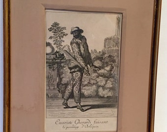 Harlequin copper engraving by Martin Engelbrecht (1667-1744)