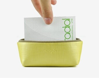 Business Card Holder, Business Card Box, Card Case for Desk, Office Storage, Yellow