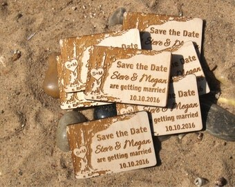 Set of 10 Save the date-Save the date rustic-Save the date magnet-Wood save the date-Wedding gift-Save the date magnet rustic-wedding favors