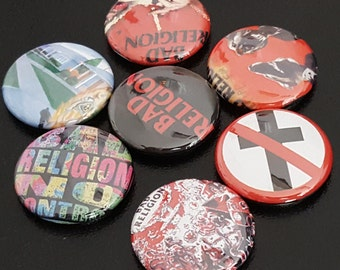 "7 Bad Religion 1"" Buttons/Pinbacks/Badges Punk Rock Old School Epitaph Anti No Control"