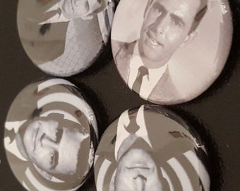 """4 Rod Serling 1"""" Buttons/Pinbacks/Badges Twilight Zone Serling Night Gallery Science Fiction Scifi Television Classic"""