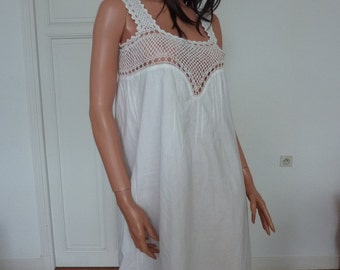 Beautiful Antique French White Chemise Nightdress Underwear Shift  Lace Crochet Nightwear Festival Hippie Boho Folk Hippy