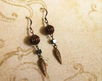Antique Copper Aztec Dangles