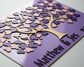 Wedding guest book alternative, 3D wedding guest book, Purple wedding guest book tree with hearts, Personalized guest book, signature book