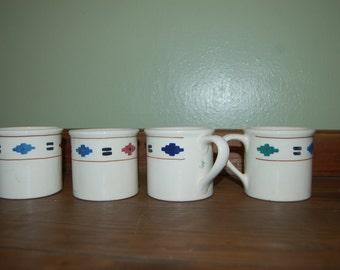 Navajo Print Coffee Mugs Vintage Set