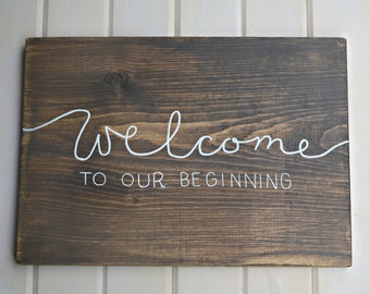 Welome to Our Beginning, Welcome Wedding Sign