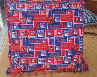 NY Rangers Hockey Pillow w/Cording/ Raners Hockey/NHL Pillows/Hockey Pillows/NY Rangers