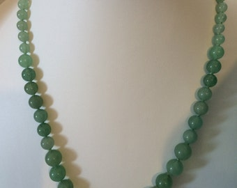 Genuine Green Aventurine Graduated Necklace