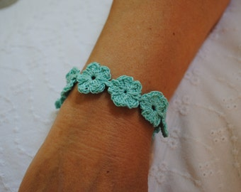 Flower bracelet, aqua blue