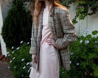 KATIES 80s Brown & Cream Houndstooth Coat