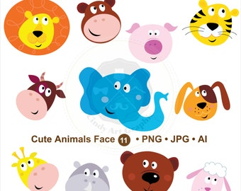 Cute Animals Face Clipart,animal head clipart,baby animals clipart,clipart baby,digital download