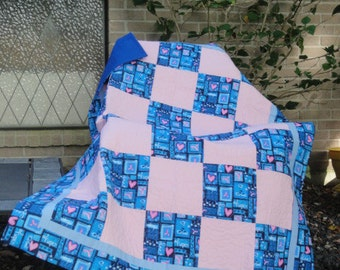 "Breast Cancer Handmade Quilt-Pink and Blue-Warm & Natural Batting-41"" x 55"""