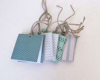 Gift tags with twine, set of 8 mint and green gift tags, cute labels, jar tags, chevron labels, stripe labels