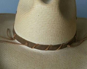Diagonal hand laced hat band