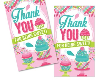Cupcake Cutie Digital Girls Birthday Party Printable Baking Thank You Favor Tags INSTANT DOWNLOAD