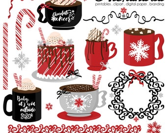 Chocolate Cheer Digital Clipart - Personal & Commercial Use - Hot Cocoa Clipart, Candy Cane Graphics, Winter Holiday Images