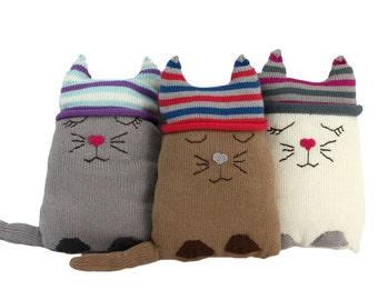Cotton Cat Stuffed Animal / Pillow - Fair Trade from Peru