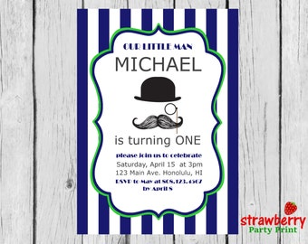 Little Man Birthday Invitation, Mustache Birthday Invitation, Little Man First Birthday, Little Man Invitation, Party Printables