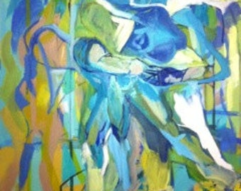 Abstract Figurative Art//Hercules and Anteus original Oil painting// Abstract//blues and greens// figure oil painting by artist Capone