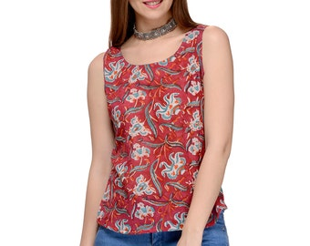 Hand block printed casual sleeveless Tank Top / Blouse
