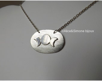 """""""Moon Phases"""" Oval Pendant in sterling silver necklace / unique, handcrafted."""