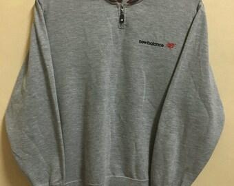 Vintage 90's New Balance Zap On Grey Sport Classic Design Skate Sweat Shirt Sweater Varsity Jacket Size M #A184