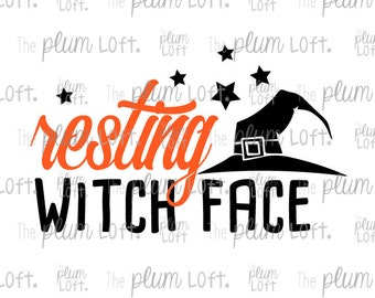Resting Witch Face - Halloween SVG - Fall - SVG Cutting File for Cutting Machines - SVG, Eps, Png, & Jpg