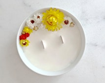 Candle flower to the lemon 52 H - wax from soy - essential oil - Vegan - Made in France / / gifts for her / / Decoration wedding