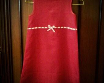 Red linen baby dress