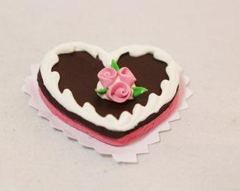 Miniature Heart Cake, Happy Birthday Cake, Chocolate Cake, Miniature Dessert, Miniature Food, Miniatures, Terrariums, Dollhouse Food