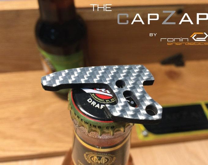 Mini Silver Carbon Fiber Personalized Keyring Pistol Bottle Opener EDC Gun Keychain Travel Tool, Star Lord, Gift for Him, Groom Gift, CapZap