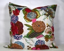 Indian quilted kantha cushion multi color 12x12, 16x16, 18x18 to 24x24 handmade pillow cover decorative cushion case ethnic white  cushion