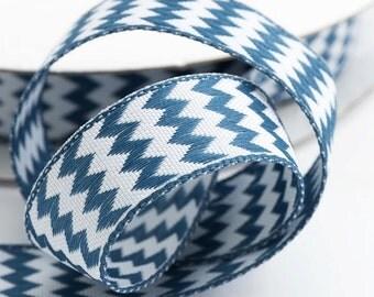 Full Reel Double Sided Zig Zag Chevron Ribbon Ribbon 15mm x 10m - Dark Blue