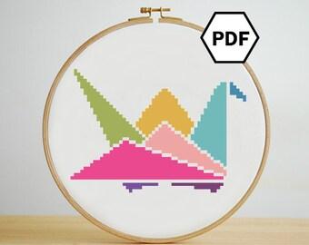 Origami Colorful Paper Crane Cross Stitch Pattern, Instant Download, PDF pattern