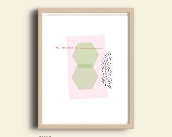 Instant download art print, typography modern minimalist, printable art, living room wall art, digital wall decor, affordable wall art, love
