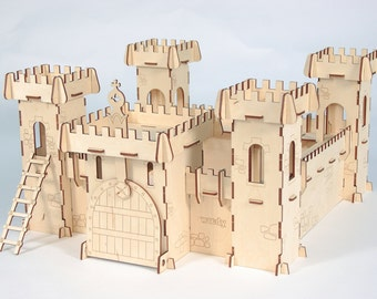 Wooden  fortress, eco & creative toys;