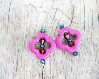 """Howlite and Crystal 1.5"""" - 2"""" inch Moroccan Drop Dangle Earrings  - Choose:  Fuscia - Pink - Green - White - Red"""