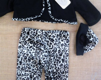 Animal print pants with Jacket and Hat 1-3 month